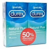 PACK 2U. PRESERVATIVOS DUREX NATURAL PLUS 12U. 2ª UND AL 50% DE DTO