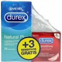 DUREX PRESERVATIVOS NATURAL PLUS 12 UNIDADES + 3 SENSITIVO SUAVE