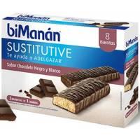 BIMANAN 8 BARRITAS SUSTITUTIVAS CHOCOLATE NEGRO Y BLANCO