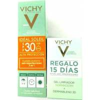 VICHY IDEAL SOLEIL SPF30 (50ML) + GEL LIMPIADOR NORMADERM 15ML Y DERMABLEND CORRECTOR 3D 10ML