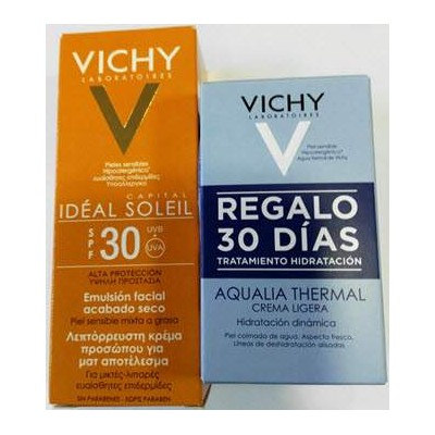 comprar VICHY IDEAL SOLEIL EMULSION FACIAL SECO SPF30 50ML+AQUALIA THERMAL 2X15ML