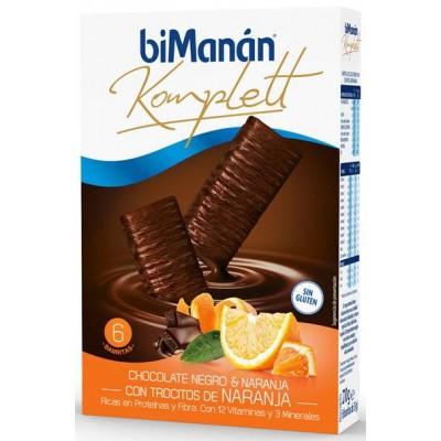 COMPRAR BARRITAS KOMPLETT CHOCOLATE NEGRO Y NARANJA BIMANAN 6 BARRITAS PARA MANTENER TU LINEA