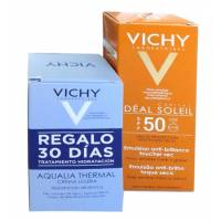 IDEAL SOLEIL SP50 EMULSION FACIAL ACABADO SECO 50 ML VICHY MAS AQUALIA THERMAL CREMA LIGERA 2 X 15 ML
