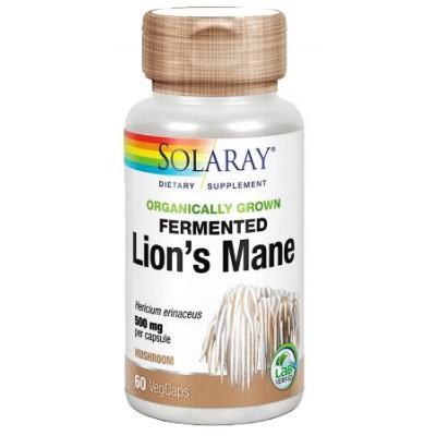 Comprar MELENA DE LEON FERMENTADA (LIONS MANE) 500 MG 60 CAPSULAS SOLARAY para la ansiedad, estres, concentración