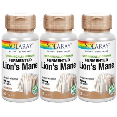 Comprar 3 UNIDADES MELENA DE LEON FERMENTADA (LIONS MANE) 500 MG 60 CAPSULAS SOLARAY para la ansiedad, estres, concentración
