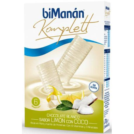 Comprar BARRITAS KOMPLETT CHOCOLATE BLANCO SABOR LIMON CON COCO BIMANAN