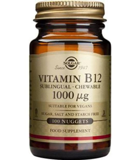SOLGAR VITAMINA B12 1000 MCG SUBLINGUAL 100 COMPRIMIDOS MASTICABLES