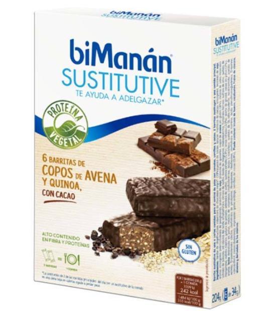 BIMANAN 6 BARRITAS DE COPO DE AVENA Y QUINOA CON CHOCOLATE