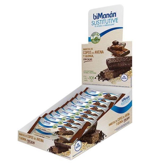 BIMANAN 20 BARRITAS DE COPOS DE AVENA Y QUINOA CON CHOCOLATE