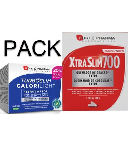 PACK XTRASLIM 700 + TURBOSLIM CALORILIGHT 2X120 CAPSULAS FORTEPHARMA