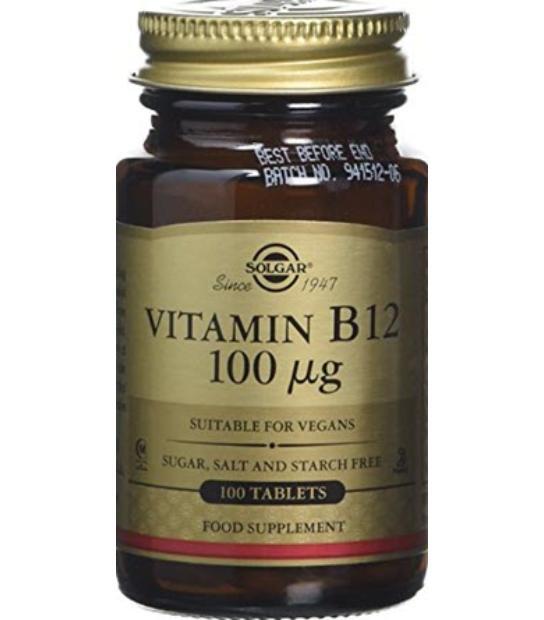 SOLGAR VITAMINA B12 (CIANOCOBALAMINA) 100MCG 100 TABLETAS