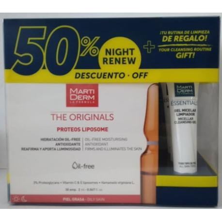 comprar MARTIDERM PACK PROTEOS LIPOSOME 30 AMPOLLAS + NIGHT RENEW 10 AMPOLLAS + X3 GEL MICELAR LIMPIADOR 15ML