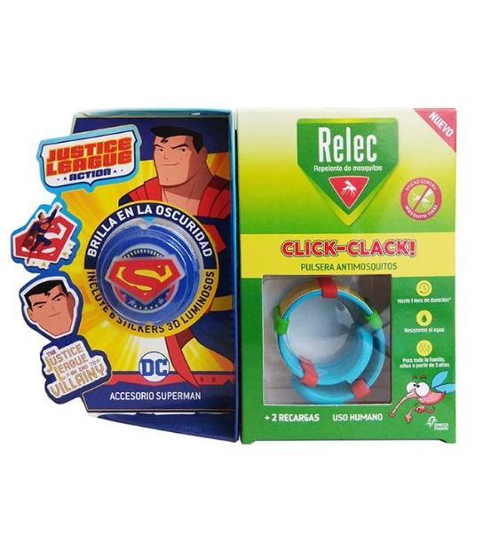 comprar PULSERA ANTIMOSQUITOS REPELENTE CLICK-CLACK SUPERHEROE SUPERMAN + 2 RECARGAS RELEC
