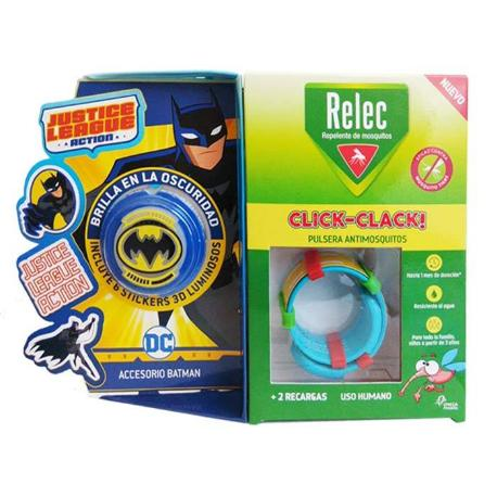 comprar PULSERA ANTIMOSQUITOS REPELENTE CLICK-CLACK SUPERHEROE BATMAN + 2 RECARGAS RELEC