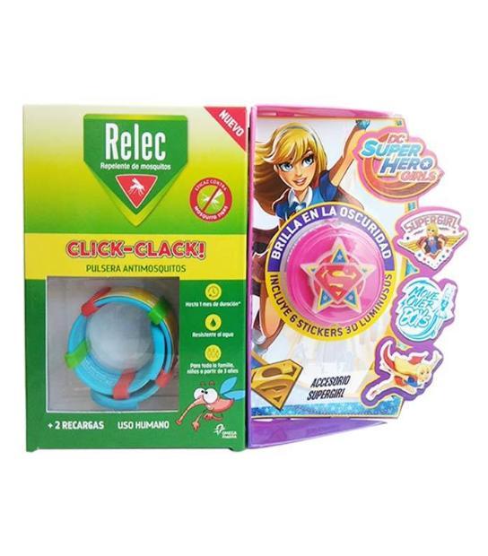 comprar PULSERA ANTIMOSQUITOS REPELENTE CLICK-CLACK SUPERHEROE SUPER GIRL + 2 RECARGAS RELEC