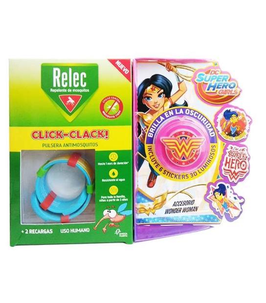 RELEC PULSERA ANTIMOSQUITOS REPELENTE CLICK-CLACK SUPERHEROE WONDER WOMAN + 2 RECARGAS