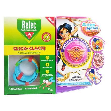 comprar PULSERA ANTIMOSQUITOS REPELENTE CLICK-CLACK SUPERHEROE WONDER WOMAN + 2 RECARGAS RELEC