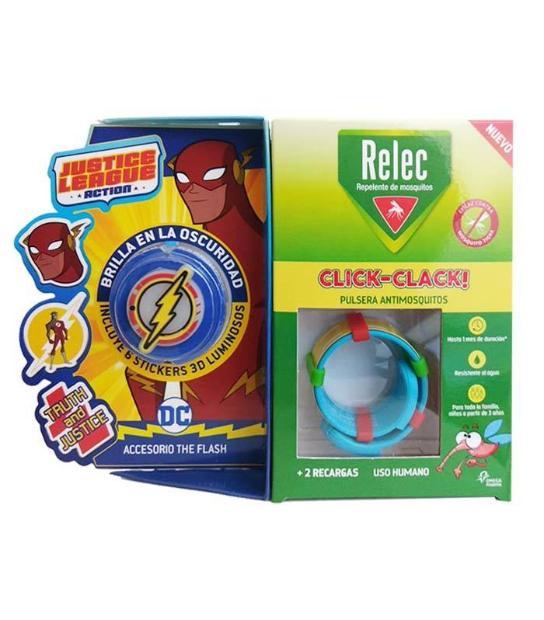 RELEC PULSERA ANTIMOSQUITOS REPELENTE CLICK-CLACK SUPERHEROE FLASH + 2 RECARGAS