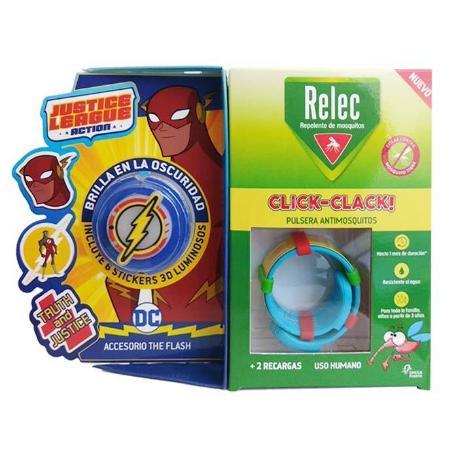 comprar PULSERA ANTIMOSQUITOS REPELENTE CLICK-CLACK SUPERHEROE FLASH + 2 RECARGAS RELEC