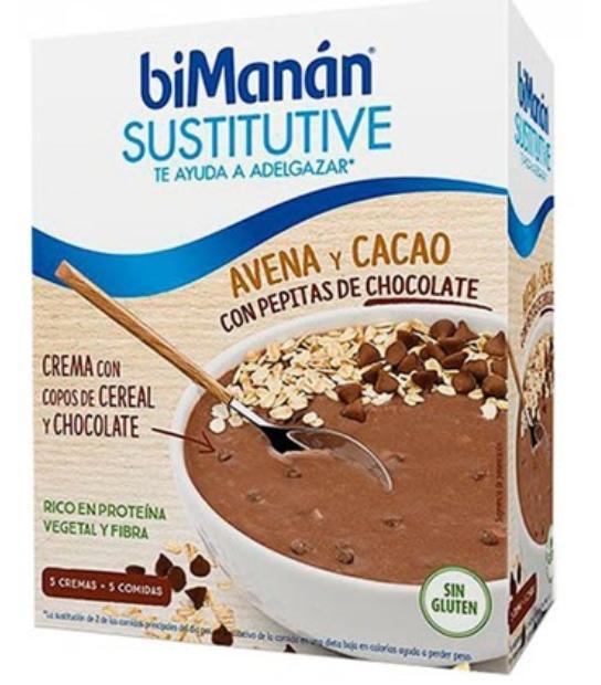 BIMANAN SUSTITUTIVE CREMA CON AVENA CACAO Y CHOCOLATE 5 SOBRES