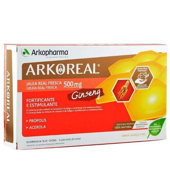 ARKOREAL GINSENG Y JALEA REAL PROPOLIS Y ACEROLA 500MG 20 AMPOLLAS