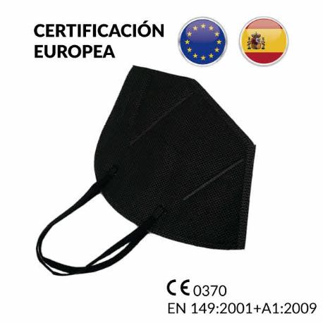 COMPRAR MASCARILLAS FFP2 HOMOLOGADAS 25U. NEGRAS DE 5 CAPAS CERTIFICACION EUROPEA